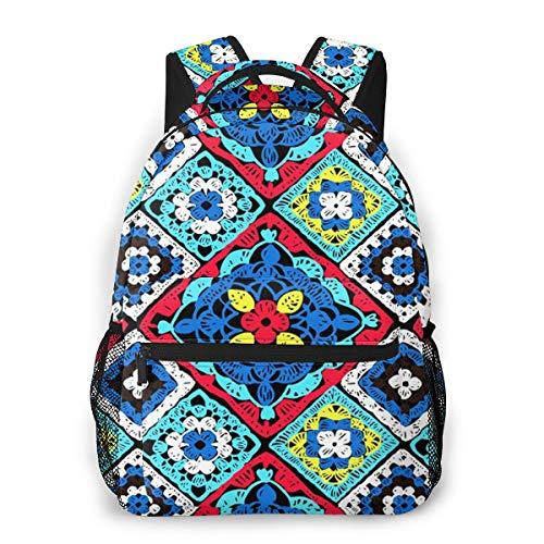 Mochilas Portatil 14 Pulgadas, Resistente al Agua Casual Mochila, Multifuncional Mochila de Gran Capacidad para Hombre Mujer Escolar Trabajo Viajes Crochet Floral de Punto