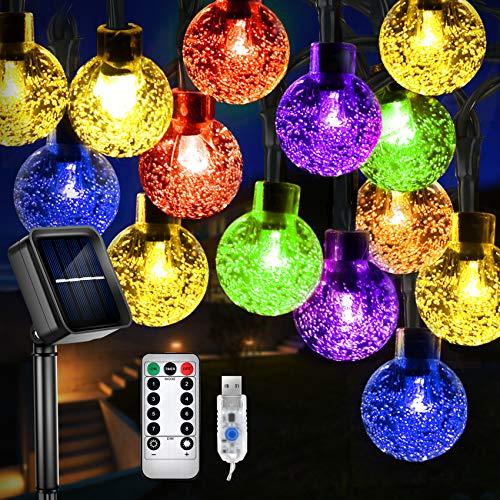 LED Solar Lichterketten, 60 LEDs 11m Solarlichterkette Garten Wasserdichte Außenlichterkette, 8 Modi Solar/USB Wiederaufladbar mit Fernbedienung, Solar Beleuchtung Deko für Außen/Balkon,Bunt