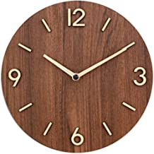 "Decorative Rustic Analog Silent Wall Clock Battery Operated Modern Round Wall Clock Simple for Home, Office, Bedroom, 9"", Brown"
