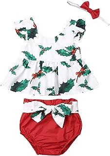 Infant Baby Girl Christmas Clothes Set Ruffle T-Shirt Top Dress Pompom Short Pants Headband