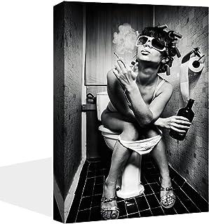 VIIVEI Moderne Noir Blanc Sexy Charmant Femme Beauté Peinture sur Toile d'impression WC Pub Bar Décoration Art Poster Mura...