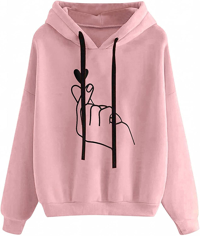 Fudule Graphic Hoodies for Teen Girl, Cute Heart Printed Sweatshirts Fall Long Sleeve Shirts Lightweight Pullover Tops