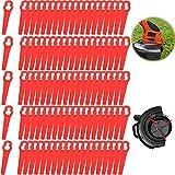 100pcs Cuchillas de Plástico Cortacésped Rojo Cuchillas Cortador de Césped Repuesto Cuchilla para Cortadora de Césped para FRT18A FRT18A1 FRT20A1 1083-B3–0009 ART46155 ect- Longitud 8,3 cm