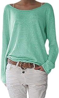 UUYUK Womens Long Sleeve Knitted Slim Shirt T Shirt Shirt Boatneck T-Shirts