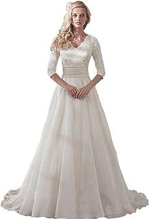 53f4f07f01 Onlinedress Women s Appliques Chiffon V Neck Wedding Beach Bridal Dresses
