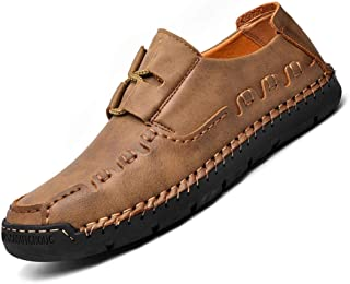 Mens Handmade Casual Loafers Leather Breathable Lace-up Flats Fashion Driving Walking Oxford Shoes