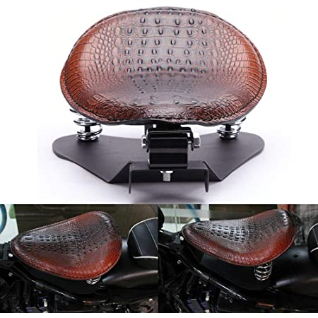 Crocodile Leather Motocycle Bobber Solo Seat Spring Base Plate Bracket Kit For Harley Sportster XL 883 1200 48 (Brown-Crocodile Leather)