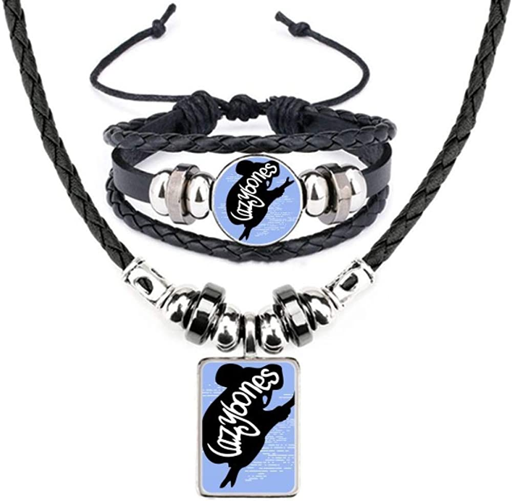 Ranking TOP8 Black Oklahoma City Mall Sloth Animal Silhouette Bracelet Necklace Leather Natural