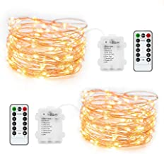 ZCOONE LED Fairy String Lights 2 Set 8 Modes 50 LED 16 Ft Battery Operated String Lights Waterproof Portable Twinkle Firefly Lights Remote Timer for Bedroom Garden Party Decoration (Warm White)