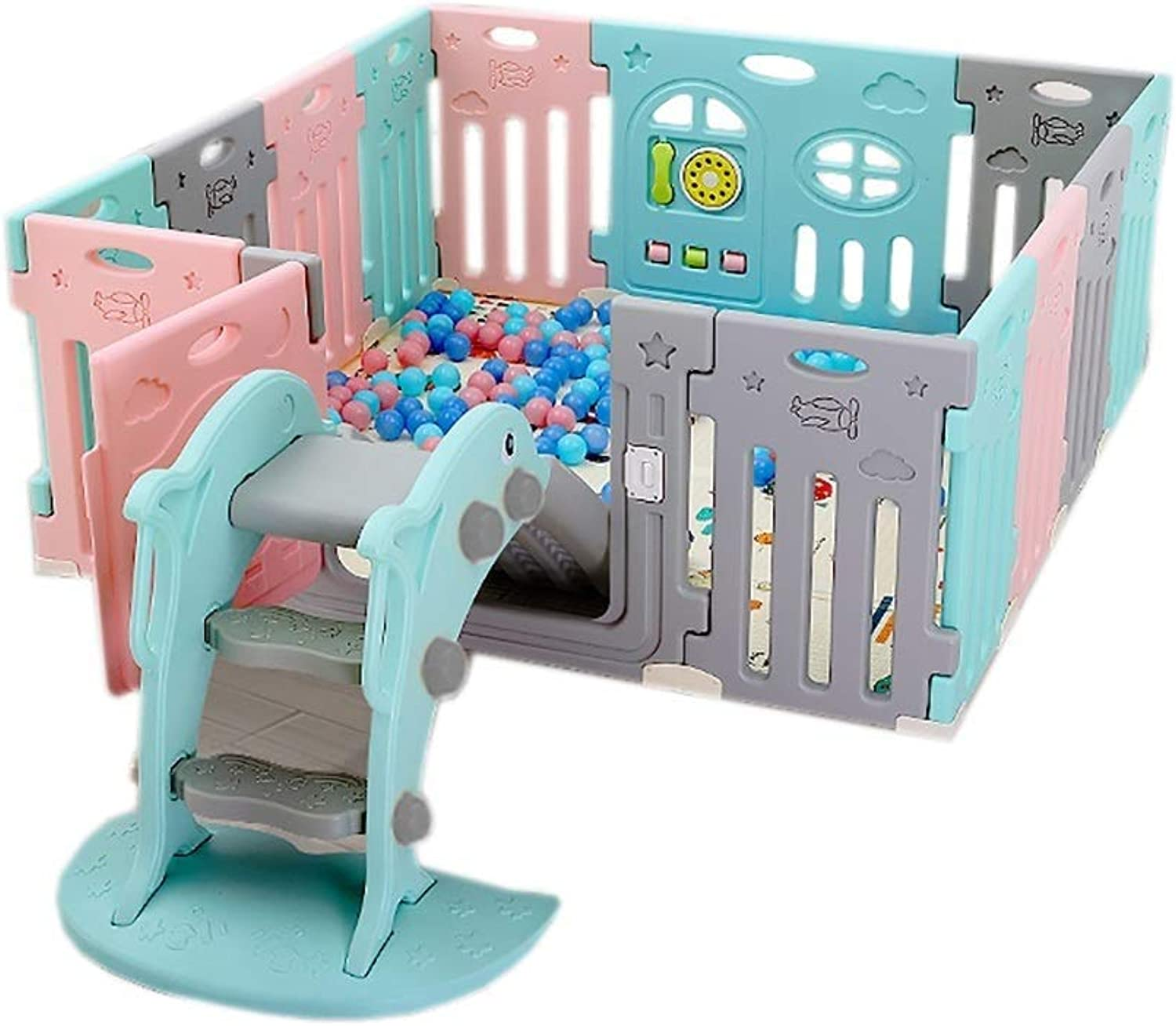 Baby Deluxe Plastic Game Fence Indoor and Outdoor Splitter Collapsible Safety Playground (color   Multicolord)