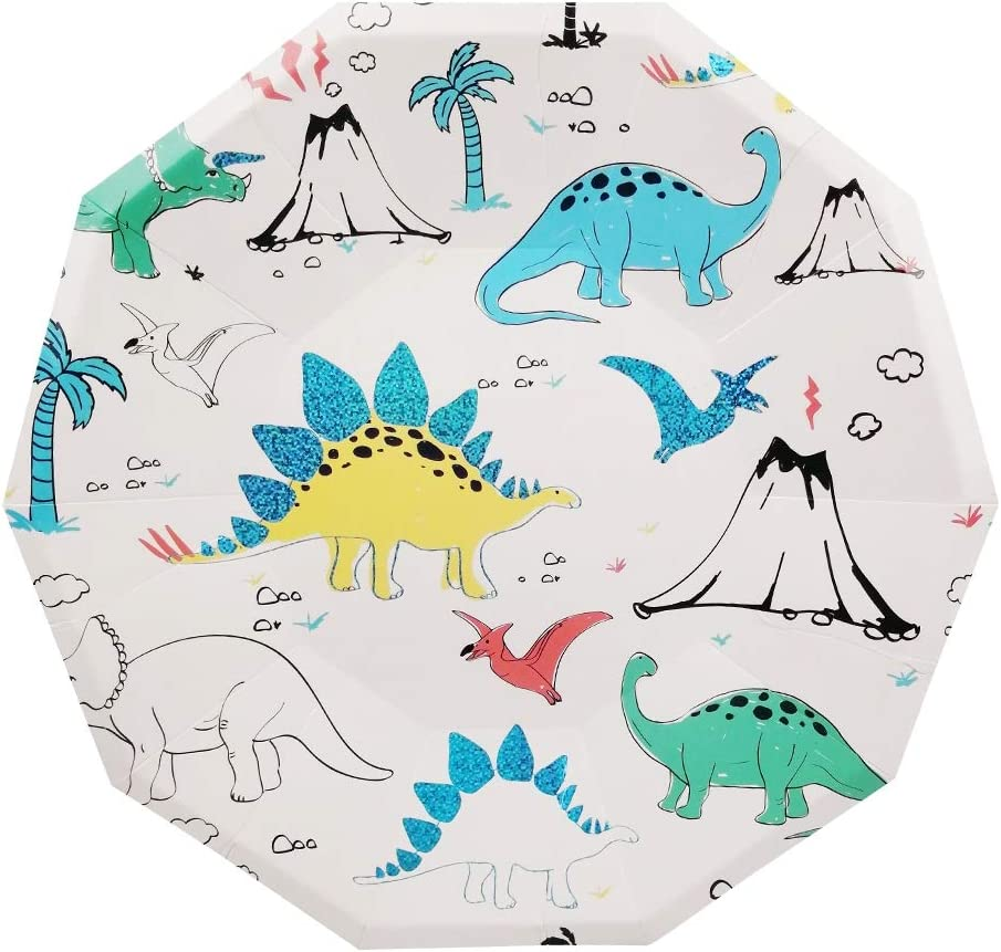 Cieovo 24 Count Disposable Plates Dinosaur Party Paper Plates fo