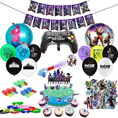 veeyiki Kit di Forniture per Feste di Compleanno per Gli Appassionati di Giochi 123 Pezzi Decorativi per Party A Tema Giochi–Sono Inclusi Palloncini, Striscione2215 (Ftn)