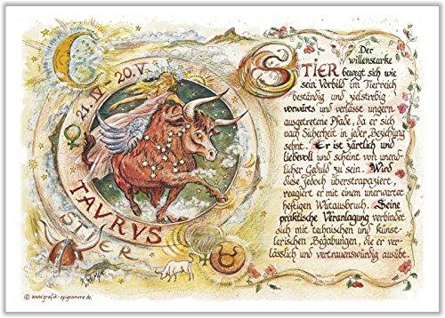 Geschenk Sternzeichen Stier Gedicht Spruch Zeichnung Color 20 x 15 cm