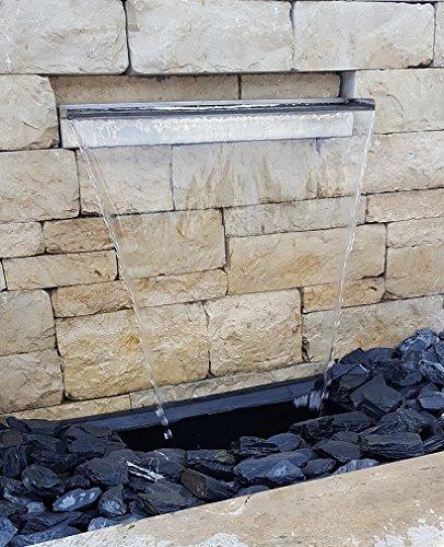 garten-wohnambiente Wasserfall 30 cm incl. LED-Beleuchtung aus Edelstahl matt gebürstet Wasserauslauf