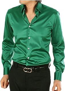 omniscient Men's Slim Blouse Silk Like Satin Button Down Prom Dress Shirt