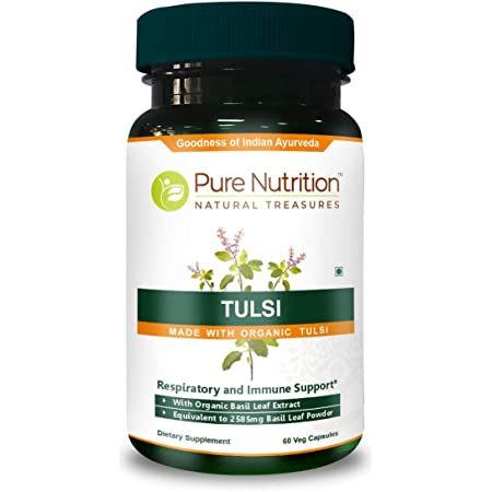 Pure Nutriton Organic Tulsi Extract 708mg, (Equivalent to 2585mg Basil Leaf Powder) with Eugenols and Ursolic Acid. Non GMO   Once Daily   60 Days Supply.