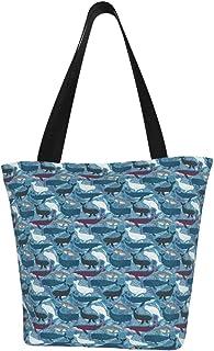 Lesif Einkaufstaschen, Wale mit blauem Hintergrund, Segeltuch, Einkaufstasche, wiederverwendbar, faltbar, Reisetasche, groß und langlebig, robuste Einkaufstaschen