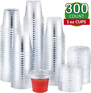 Eupako 1 oz Disposable Plastic Portion Cups with Lids 300 Sets, Jello Shot Cups, Condiment Cups, Souffle Cups, Sampling Cups, Sauce Cups, Clear Cups