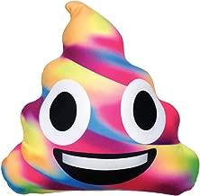 iscream X-Pressive! Emoji Happy Rainbow Unicorn Poop Shaped 16 x 15 Microbead Pillow