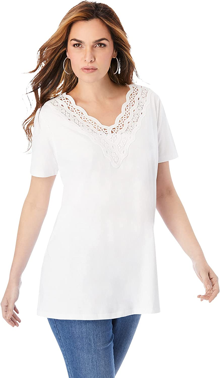 Roamans Women's Plus Size Lace-Trim Embroidered Tee