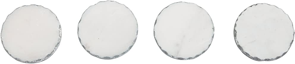 Mud Pie Foiled Marble Coaster Set, White Silver