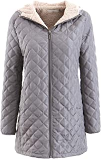 Atditama Sherpa Lined Hooded Jacket Coat for Women, Solid Color Outerwear Hip-Length Down Jacket Puffer Coats