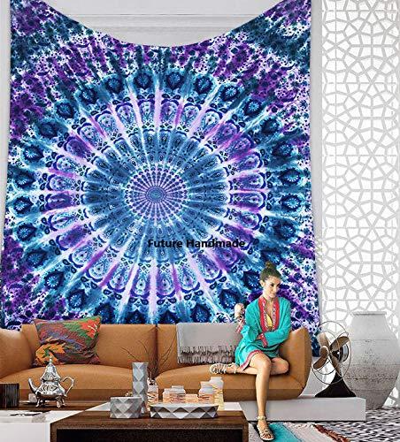 Tapiz para colgar en la pared, diseño hippy, hecho a mano., Diseño Q5, Queen