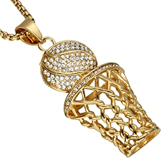 UNAPHYO Men's Stainless Steel Hip Hop Diamond Mini Basketball Rim Pendant Charms Necklace 24 Inches Chain