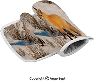 Red Fox in Nature Snowy Mountain Cold Winter Scenery Wildlife Carnivore Decorative,Durable Oven Gloves Heat Resistant,Marigold Brown White,Insulated Gloves+Insulated Square Mat Combination