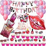 Spa Party Decorations Set,Spa Party Supplies Make Up Happy Birthday Banner,Spa Day Cake Toppers for Girls,Inflatable Lipstick Red Kissy Lips for Girls MakeUp/Salon/Glam/Tween/Teen Birthday Party Decoration