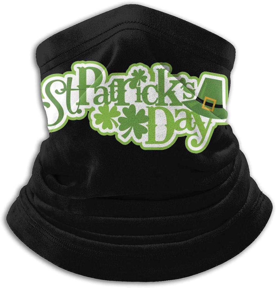 St. Patrick's Day Black Multi-function Neck Warmer Gaiter Polyester Neck Warmer Windproof Winter Neck Gaiter Cold Weather Scarf For Men Women