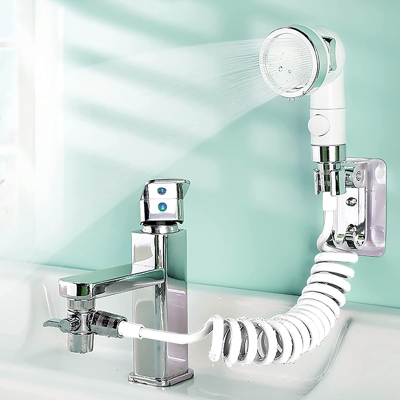 auvstar Universal Alcachofa de Ducha de Mano para Lavabo,Juego de Rociador Ajustable para Lavabo de Baño grifo de baño de alta presión,ducha de mano para para Lavar el Cabello o Limpiar el Lavabo