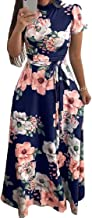 Comaba Women Printed Ball Gown Short Sleeves Stand Collar Long Maxi Dress