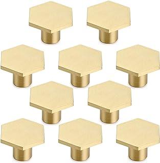 10 stuks ladeknoppen, meubelknoppen hexagon massief messing kastknoppen met schroef voor kast, bureau, lade, commode, goud