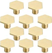 10 stuks massief messing zeshoek knoppen met schroef voor kast, bureau, lade, dressoir lade, goud (30 x 21mm)