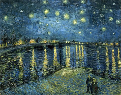Wieco Art Starry Night Over The Rhone by Van Gogh Famous Oil Paintings Reproduction