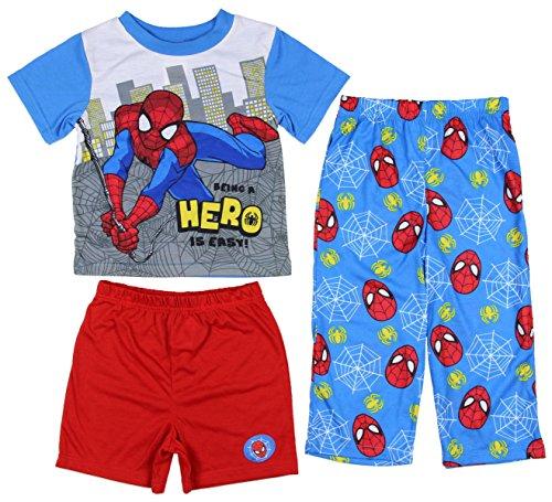 Spider-Man Boys 3 piece Pajamas Set (2T, Hero Blue/Red)