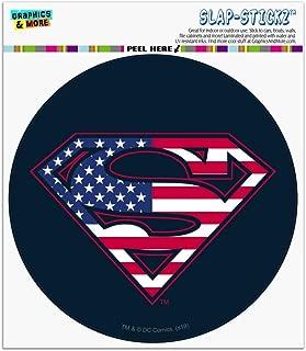 Graphics and More Superman USA American Flag Shield Logo Automotive Car Window Locker Circle Bumper Sticker