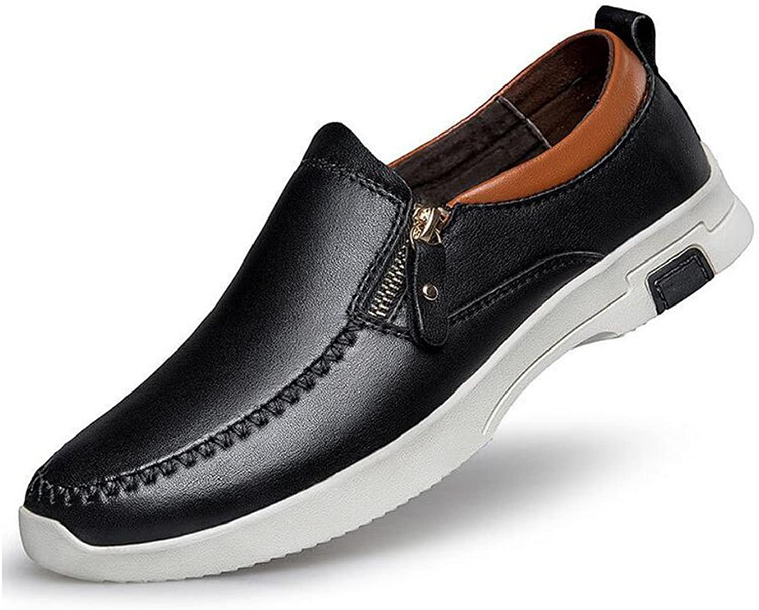 HUAN shoes Mens Casual shoes Leather Formal Business Work Flat Loafers (color   Black, Size   38)