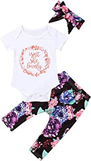 Calsunbaby Isnt She Lovely Newborn Baby Outfit Short/Long Sleeve Bodysuit Top Floral Pant Outfit