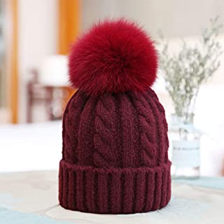 JERPOZ Ms. Knit Wool Cap, Plush Leather Ball, Retro Pattern Wool Blend Hat, Top Hat Buckle Design, Can Be Divided Into Body Wash (Color : E)