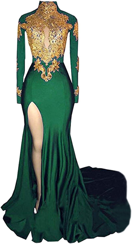 BridalAffair Women's Mermaid High Neck Prom Dress 2019 New gold Appliques Long Sleeves Split Evening Gowns
