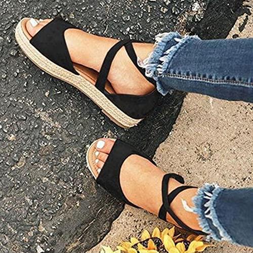 DZQQ 2020 Sandalias de Mujer con Plataforma Peep Toe, Zapatos Planos de Gladiador para Mujer, Zapatos cómodos con Cremallera para Mujer, de Talla Grande, Verano
