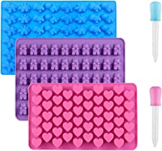 3 Pack Silicone Chocolate Molds, Reusable Candy Baking Mold Ice Cube Trays Candies Making Supplies with 2 Droppers, Nonsti...