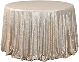 BalsaCircle TRLYC Sequin Round Champagne Cake Sequin Tablecloth for Wedding Party Banquet 120-Inch