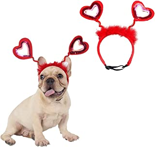 CheeseandU Dog Cat Cute Fluffy Headband with Bling Sequin Love Hearts Decor for Pet Valentine's Day Holiday Birthday Party Headwear Costume Gift, Red