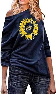 Juner Women's Fashion Off Shoulder Sunflower Print Sweatshirt Causal Blouses Long Sleeve Top
