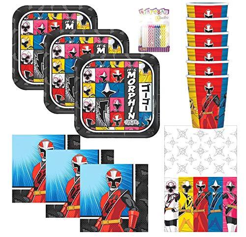 Amscan Power Rangers Ninja Steel Party Supplies Pack serve 16: piatti da dessert, tovaglioli per bevande, tazze, copritavolo e candele di compleanno