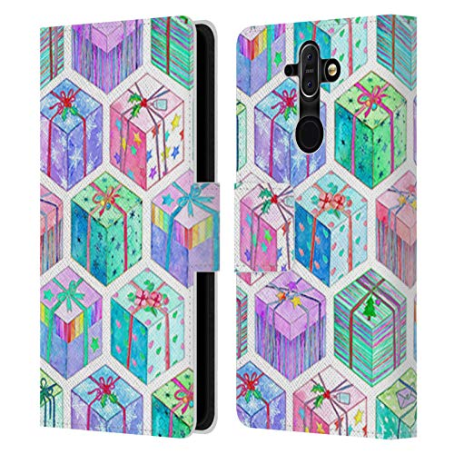 Head Case Designs Oficial Micklyn Le Feuvre Cajas de Regalo de Hexágonos navideños para Acuarela Patrones de Vacaciones Carcasa de Cuero Tipo Libro Compatible con Nokia 8 Sirocco
