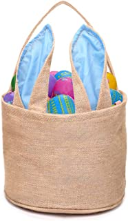DomeStar Jute Bunny Basket, Burlap Cloth Basket Jute Cotton Rabbit Bag Tote Bag Handbag Burlap Easter Bunny Bag for Picnics